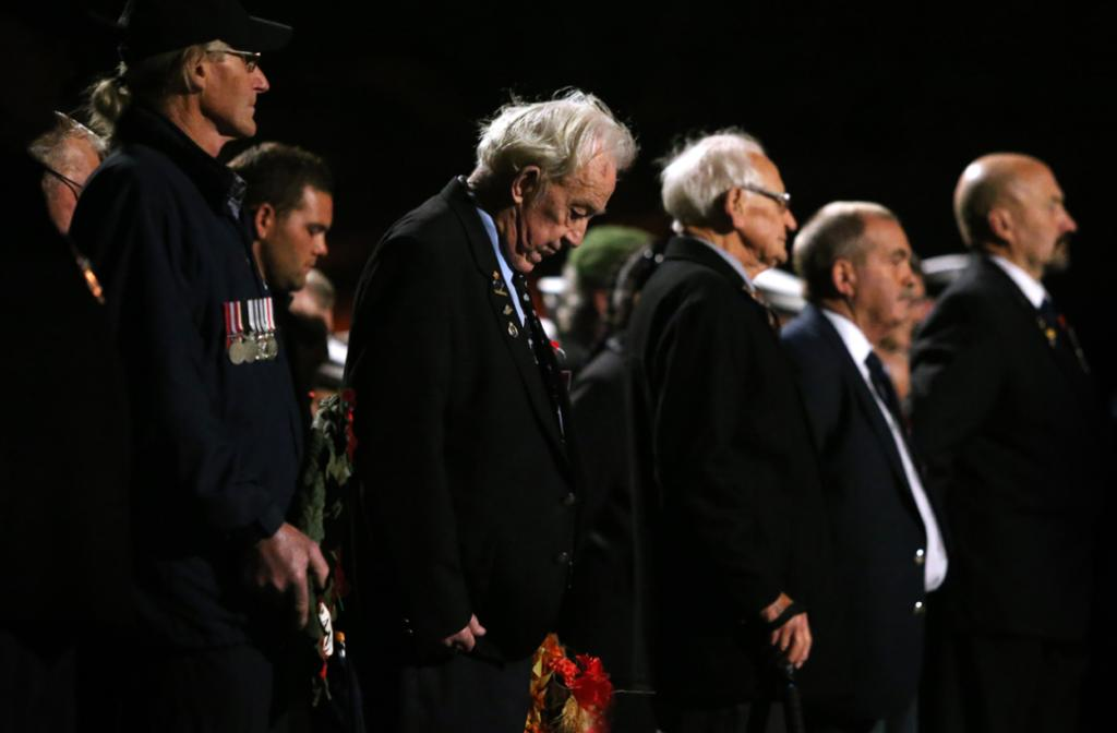 ANZAC Day dawn service parade, at New Plymouth cenotaph. Wilfred 'Wink' Burgess served in the airforce from 1943-44.