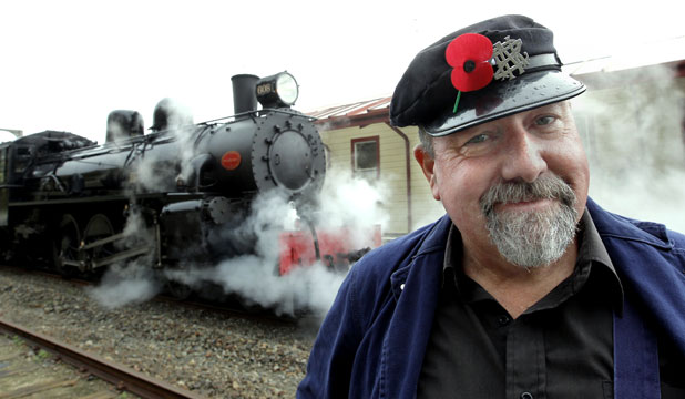 STEAMING AGAIN: Restoration crew member Danny Greene helped restore the old engine, which was ''basically junk'' when it was given to Steam Incorporated in 1993.