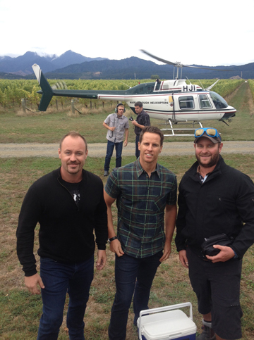 Invivo Wines co-founders Rob Cameron and Tim Lightbourne with grape grower Callum Linkwater at the Renwick vineyard.