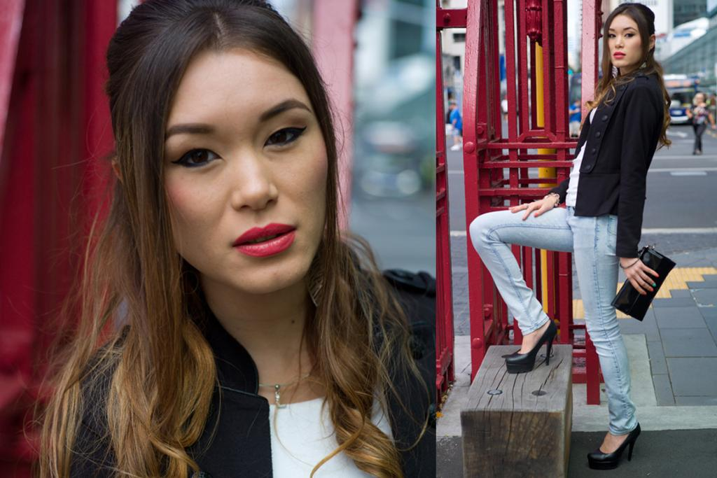 Lina, spotted at the red gates in Auckland, looks simple and stylish in a black blazer, faded skinny jeans and black pumps. We love her quirky nailpolish!