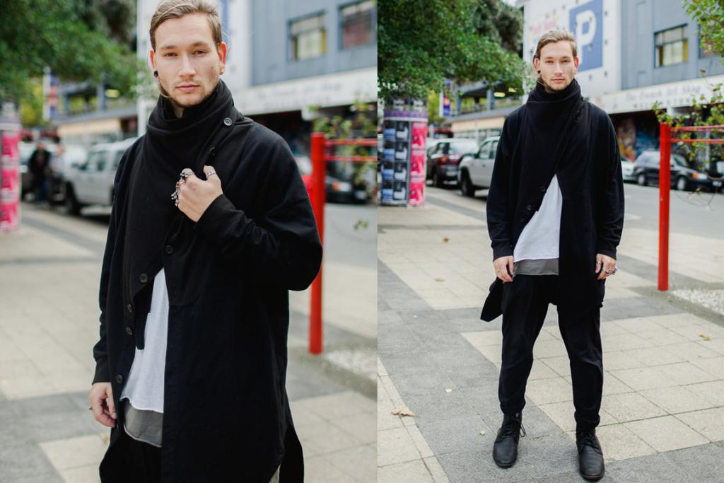 Jassher, seen on Ghuznee St, wearing a Commoners t-shirt, Mere footwear, a Black Noise rain singlet, a Kowtow jacket, Nick Von K rings, Not Just Friends rings and other high street jewels.