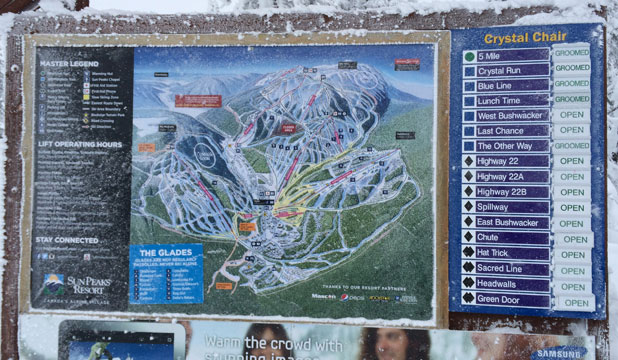 WHERE TO START? The trail map at Sun Peaks, Canada.