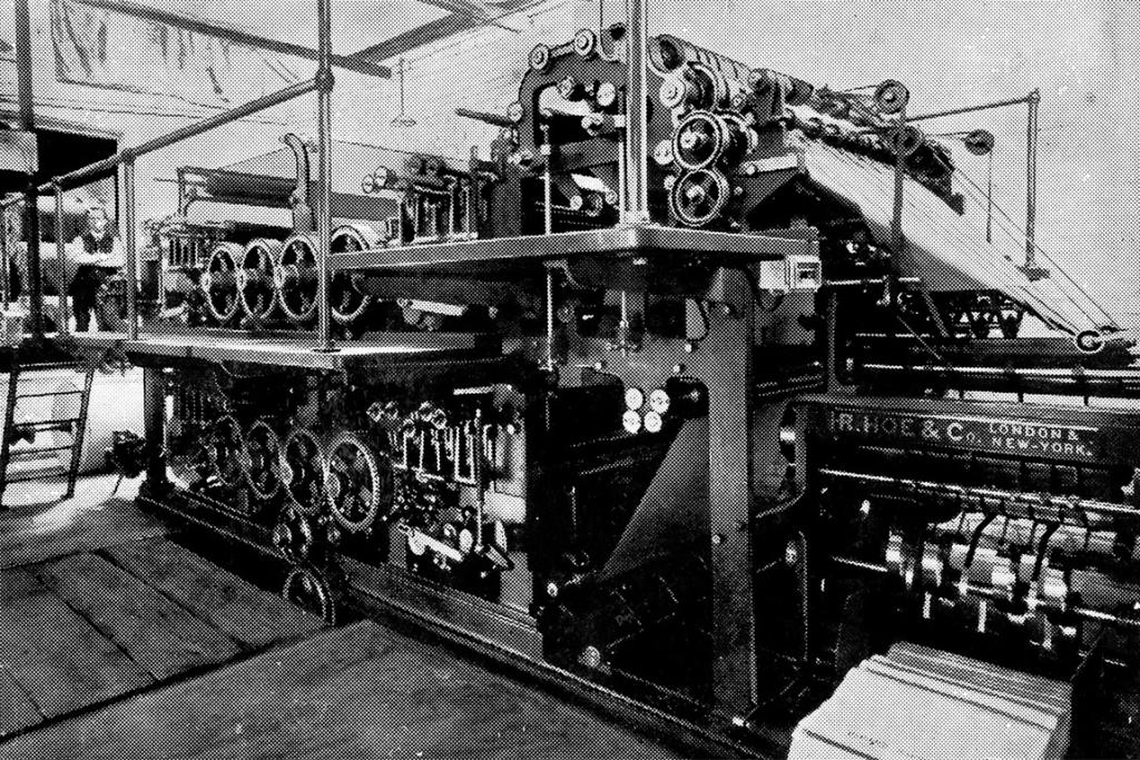 The Herald's British Hoe printing press was in use until October 1954.