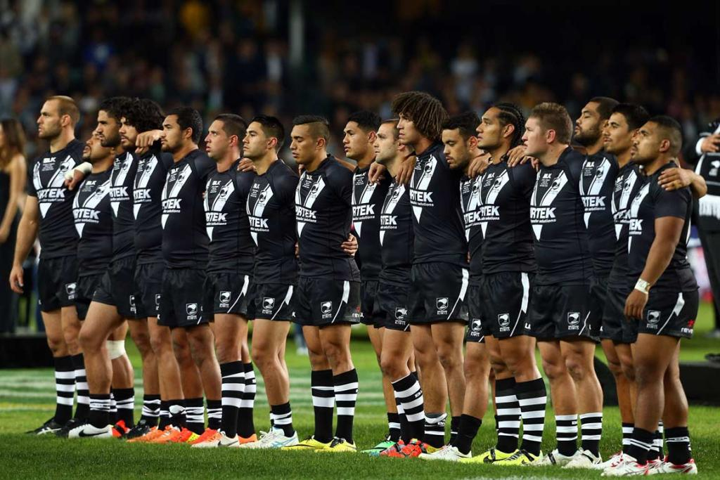 The Kiwis line up for the national anthem at ANZ Stadium.