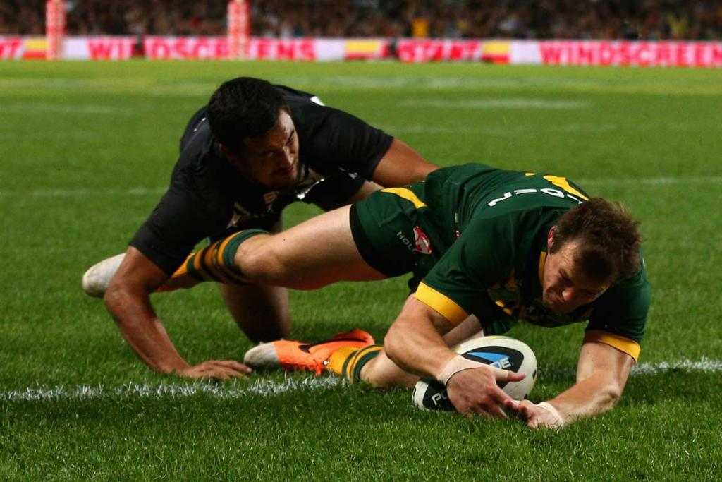 Australian winger Brett Morris dives over to score out wide in the first half.