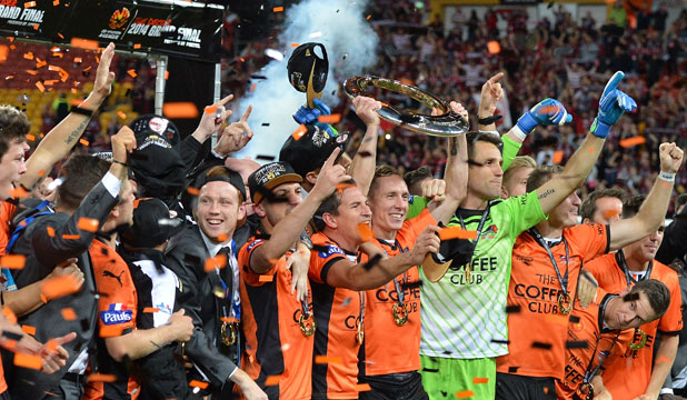 CHAMPIONS: Brisbane Roar celebrate winning their third A-League title in the last four years.