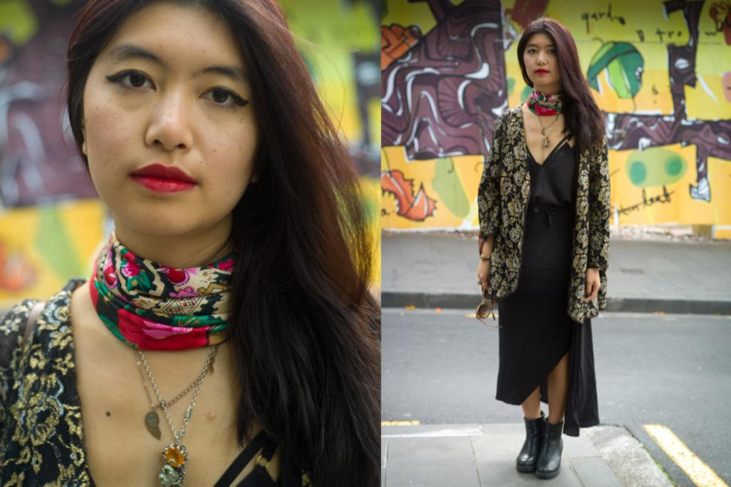 Vicky, rocking jewellery by Zara Bell Boyd, spotted on Auckland's High Street.