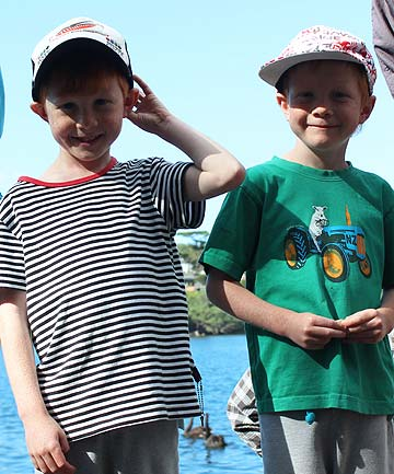 HOLIDAY FUN: from left: Twins Felix and Oscar O'Sullivan, six, enjoyed the show and a picnic with their nana Rosa O'Sullivan.