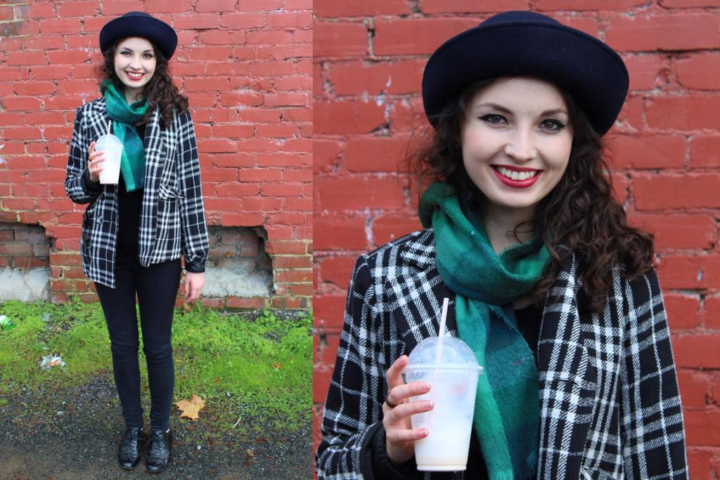 Sophie, photographed on Albany St in Dunedin, wears an outfit crafted entirely from op-shop finds. Kiwi ingenuity!