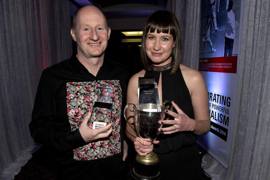 WINNERS: Sunday Star Times reporter Tony Wall picked up the award for feature writer of the year, while Andrea Vance won the Reporter of the Year award.
