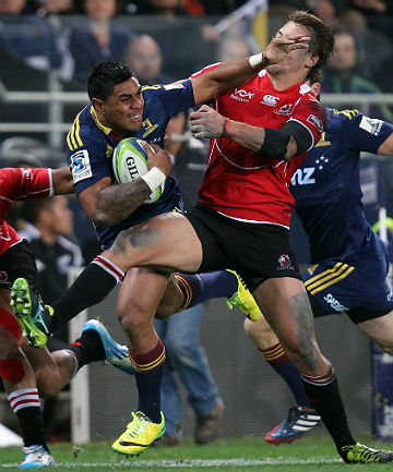 AB IN WAITING: Malakai Fekitoa on the charge for the Highlanders against the Lions in Dunedin.