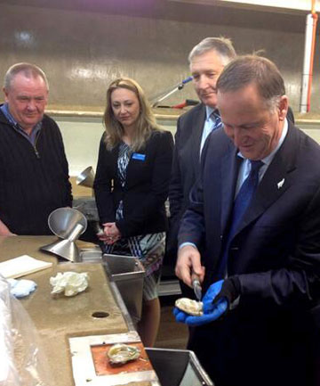 AMATEUR OPENER: Prime Minister John Key gets stuck into a Bluff oyster at Barnes Oysters as manager Graeme Wright, left, National candidate Sarah Dowie and Invercargill MP Eric Roy look on.