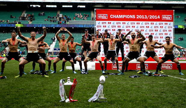 IN NZ STYLE: The New Zealand team performs a haka after winning the London Sevens.