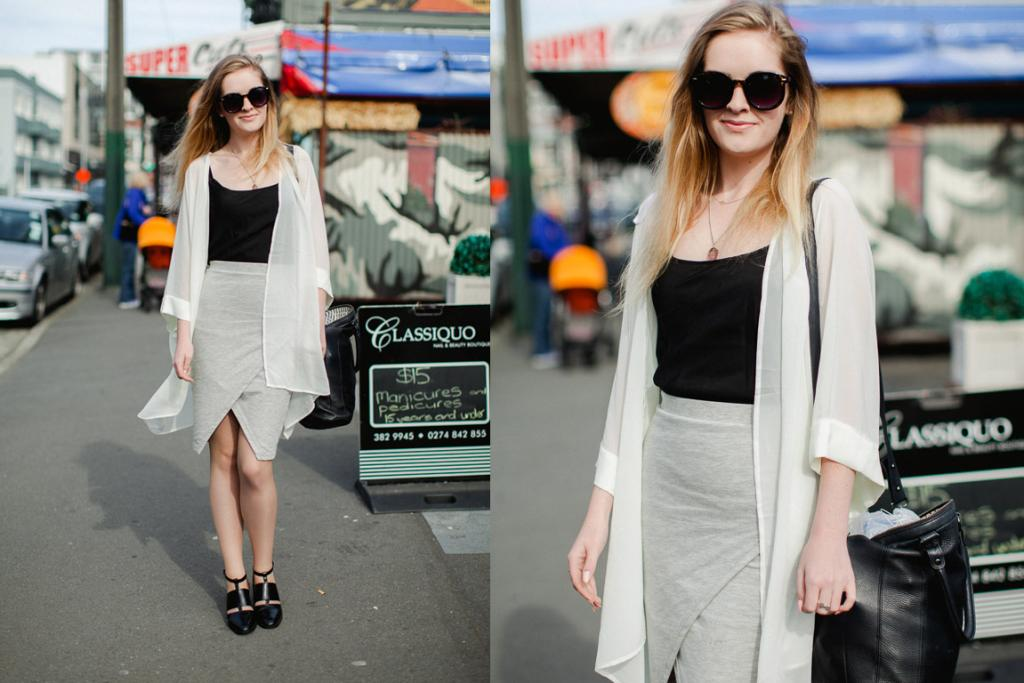 Fiona, seen on Cuba St, wearing an ASOS skirt, Jeffrey Campbell shoes, a Status Anxiety bag and Supa Sundays eyewear (do we see a sign for $15 manis behind her?! Oh, for 15 year olds and under ... considering we haven't been asked for ID in about four years we're well past being able to pull that off).