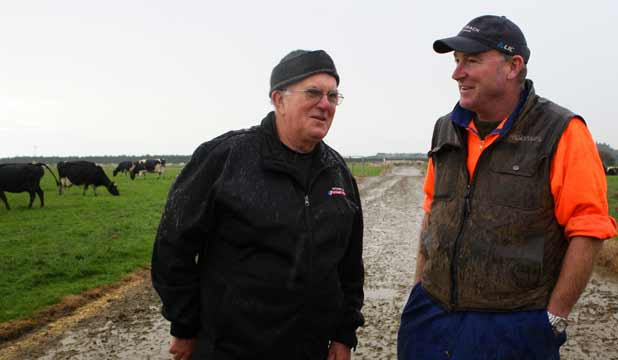 "Riverton Coastguard president Allan ""Dusty"" Duston (left) and Southland Demonstration Farm farm manager Barry Bethune"