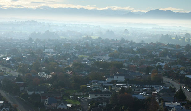 SMOGGY AFTERNOON: Timaru, pictured about 4pm yesterday - the town has one of the country's worst air pollution records.