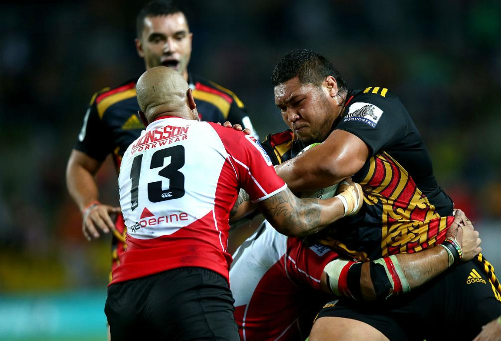 Chiefs prop Ben Tameifuna makes a charge at the Lions defence during their Super Rugby clash.