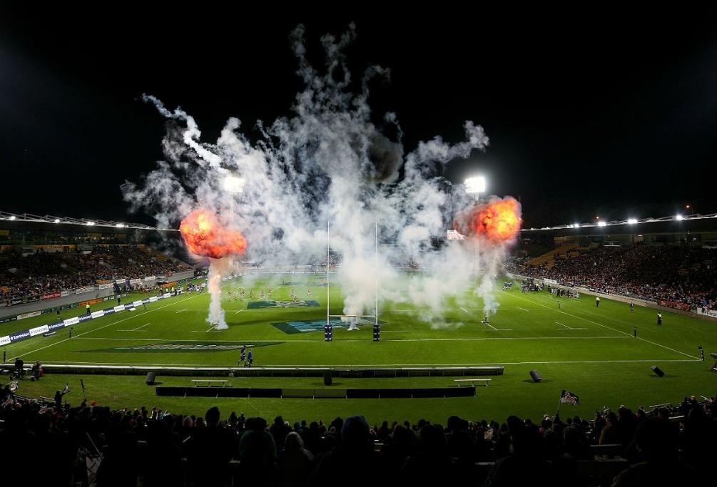 Fireworks go off at Yarrow Stadium ahead of the Chiefs' home clash with the Blues in New Plymouth.