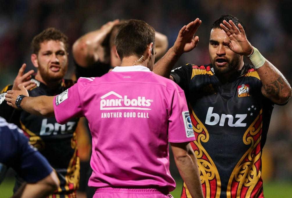 Liam Messam, right, asks referee Mike Fraser to go to the TMO during the Chiefs' clash with the Blues.
