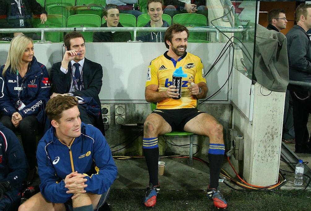 Conrad Smith of the Hurricanes reacts after being sent to the sin bin against the Rebels in Melbourne.