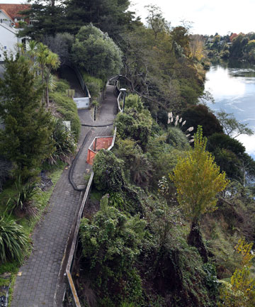 SLIPPING AWAY: A section of the Waikato River pathway crossing land owned by Tainui has been closed since July 2011 after a slip between Bryce St and Claudelands Bridge.