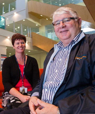 ALMOST DONE: Waikato Hospital building programme director Ian Wolstencroft and project manager Lynnette Jones contemplate the shape of things to come in the hospital foyer.