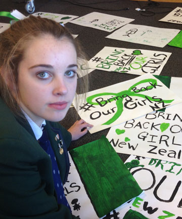 LEADING ROLE: Dunedin Columba College student Caitlin Addison has organised student action urging the return of kidnapped Nigerian school girls.