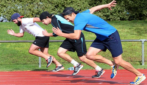 PUSHING IT: Black Caps cricket squad members from left Anton Devcich, BJ Watling and Trent Boult do sprint training.