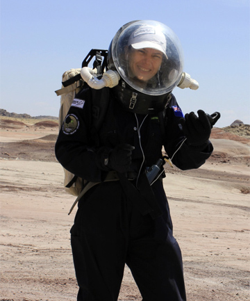 HAVE SUIT, CAN TRAVEL: Mogosanu in the replica spacesuit she had to wear every time she left the Mars Desert Research Station Hub.