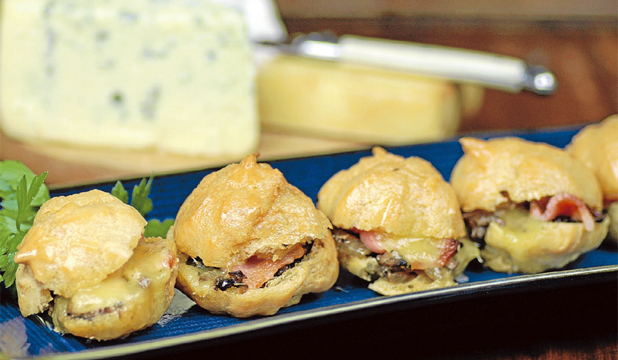 Smoked havarti, mushroom and bacon profiteroles