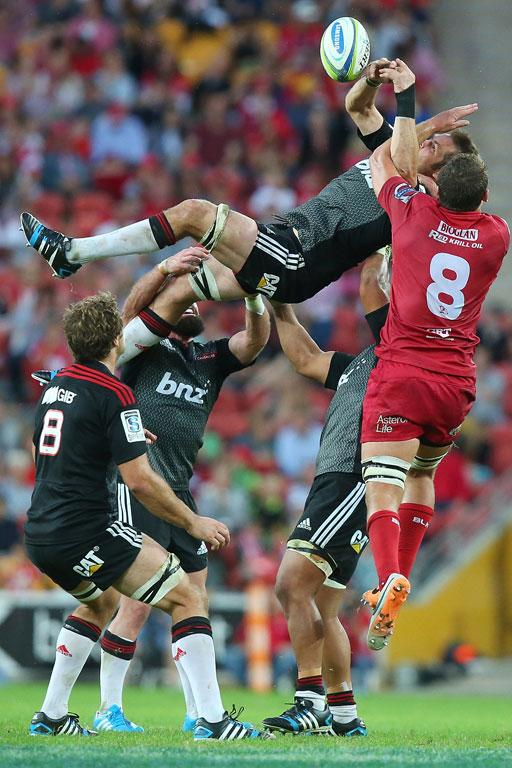 Richie McCaw of the Crusaders takes the lineout during the round 13 Super Rugby match between the Reds and the Crusaders.