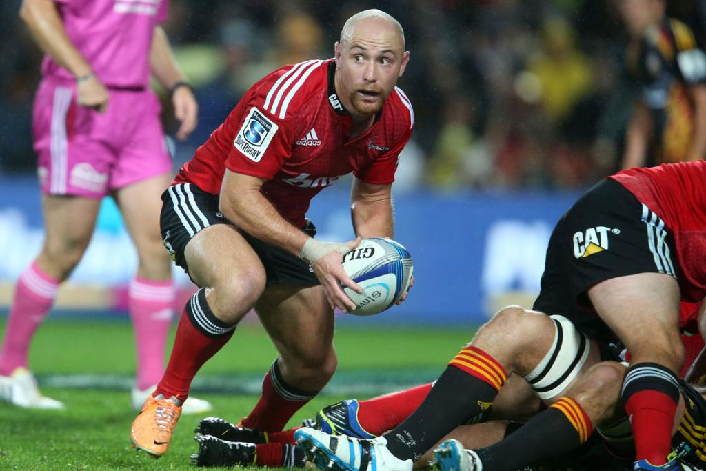 Willi Heinz of the Crusaders in action during the Chiefs and Crusaders Super Rugby match.
