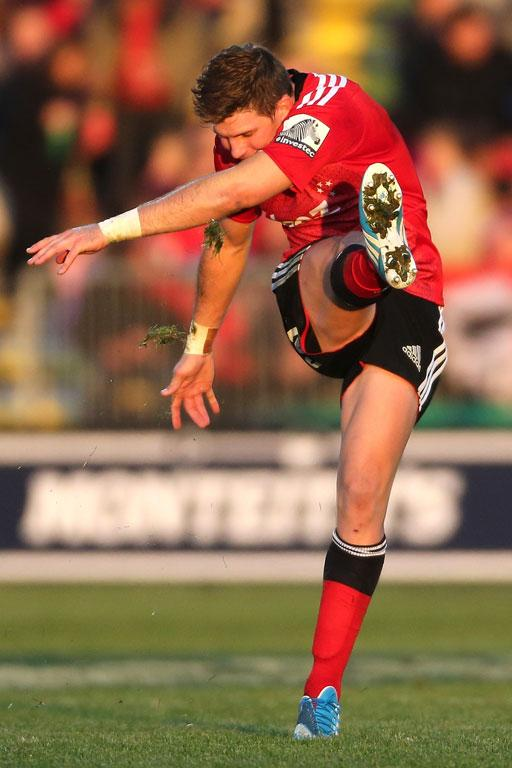 Colin Slade of the Crusaders kicks a conversion during the round 12 Super Rugby match between the Crusaders and the Brumbies.