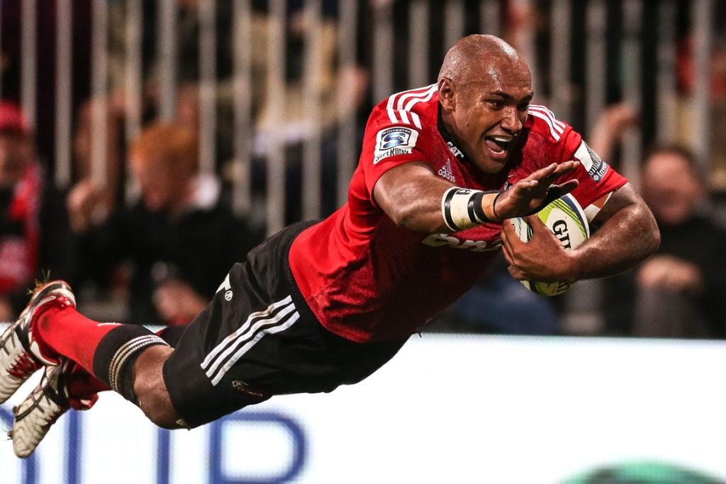 Nemani Nadolo of the Crusaders dives over to score a try during the round 12 Super Rugby match between the Crusaders and the Brumbies.