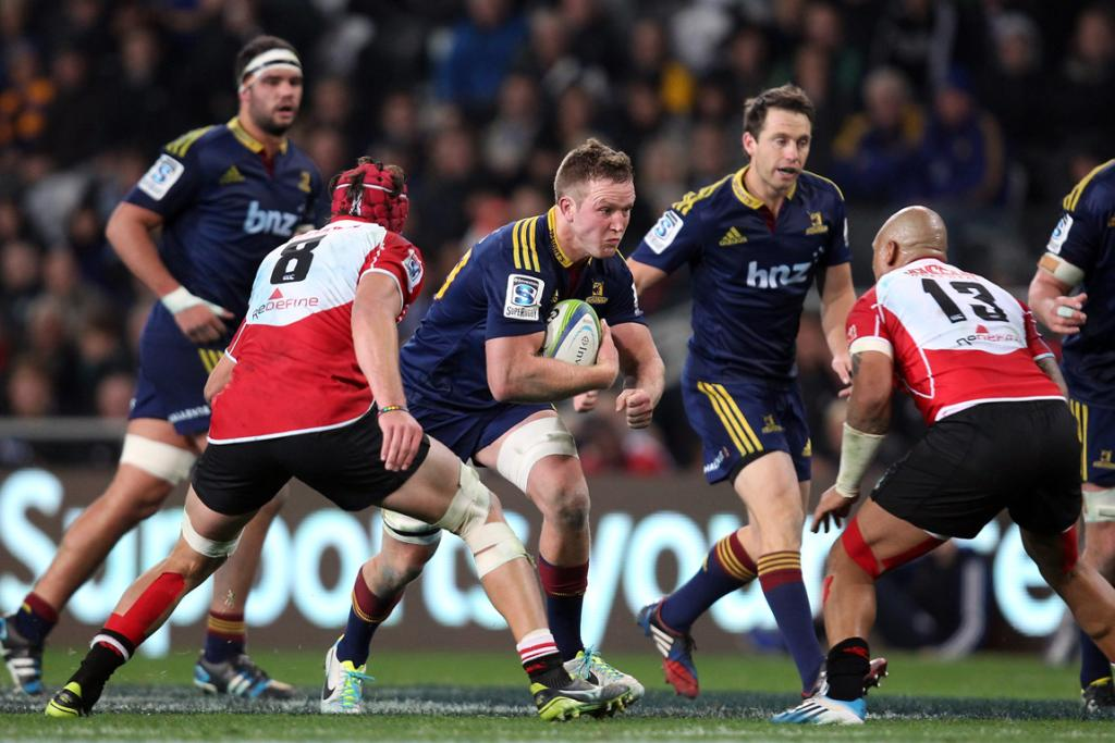 Gareth Evans of the Highlanders on the charge during the Super Rugby match between the Highlanders and the Lions.