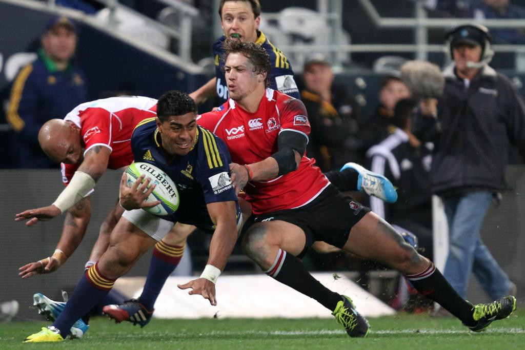 Malakai Fekitoa of the Highlanders on the attack during the Super Rugby match between the Highlanders and the Lions.