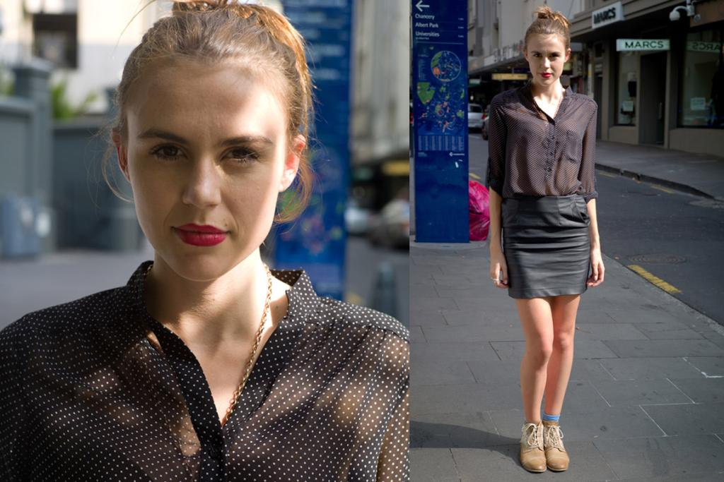 Catherine, in STORM, spotted on Auckland's High Street. We love her lip colour and cute blue socks.