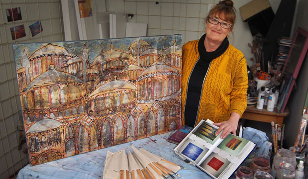 ARTIST'S STUDIO: Anita Rogers uses her imagination to inspire her paintings which will feature in her exhibition at the York St gallery.