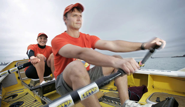 EXPERIENCED ROWER: Tara Remington, back, has plenty of experience of long ocean rows. She attempted to row the Atlantic with Iain Rudkin in 2005. This week she starts her attempt of rowing across the Pacific.