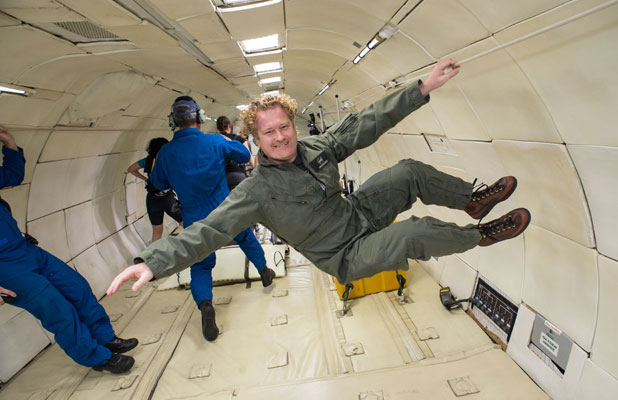 LOSING WEIGHT: Bryan Caldwell in the weightless environment of zero gravity.
