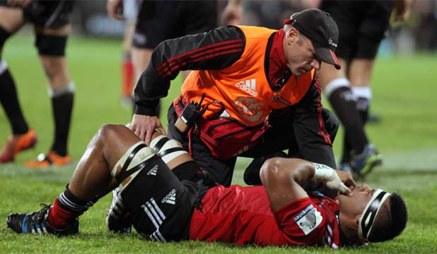 UGLY INCIDENT: Crusaders flanker Jordan Taufua was left prone after a head-stomping incident.
