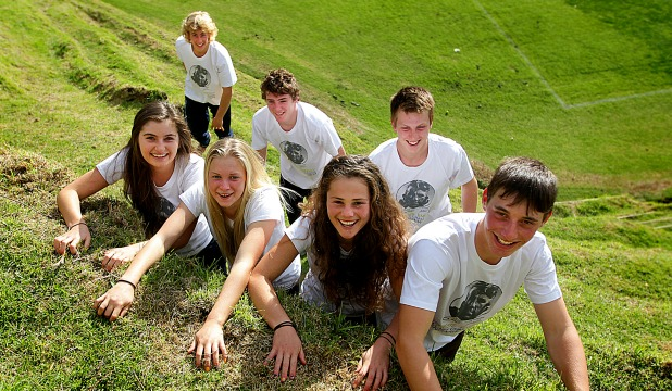 TOP TEAM: The combined New Plymouth Girls' High/Boys' High team, back from left, Cory Sutherland, 16, Hamish Sturmer, 17, Tom Spencer, 17, Ruby Tinson, 17, Kerryn Jansen, 16, Erika Barr, 18 and team captain William Adlam, 17, took out the Hillary Challenge for the second year in a row. Missing from the photo is Ellie Tvrdeich, 17.