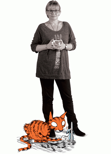 CATS AND SATIRE: Cartoonist Sharon Murdoch, with her hairy red alter-ego Munro.