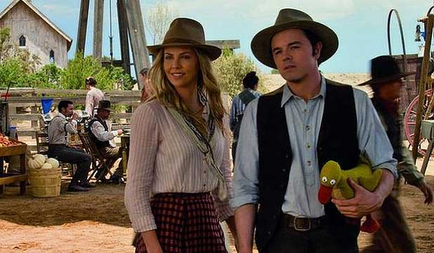 NOT SO ANGELIC: Charlize Theron and Seth MacFarlane in A Million Ways To Die In the West.