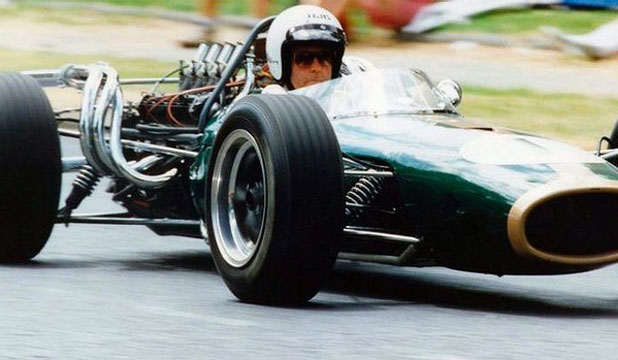 RACING GREAT: Sir Jack Brabham exits a corner in a Repco Brabham 1966 at Albert Park in 1994.