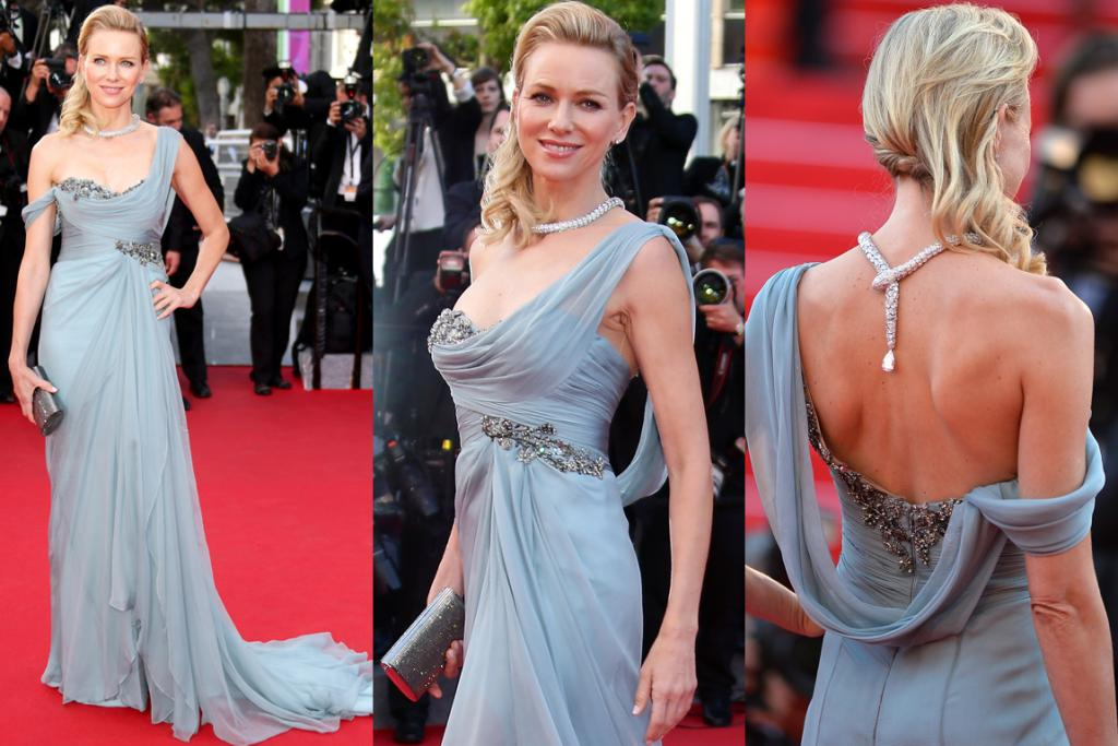 DAY THREE, ONE OF THE BEST: Naomi Watts has been a bit wishy-washy on the red carpet of late - but hot damn, the girl is back in town.  Stepping out in a dusty blue, chiffon draped Grecian gown by Marchesa, the blonde actress looked downright gorgeous. Oh, and can we talk about that fierce diamond-encrusted Bulgari serpent necklace hanging down from her delicate updo? We're putting it out there - best accessory nominee. Simply beautiful.