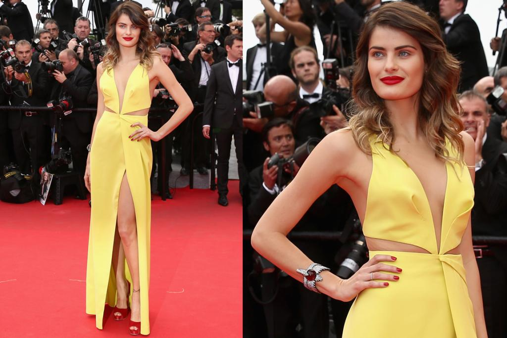 DAY FOUR - THE GOOD: Only a supermodel could pull of such a daring gown, and former Victoria's Secret Angel Isabeli Fontana sure has the bod to work this bright yellow Tufi Duek gown. Slashed all over the show, the look teeters on tacky, but the impressive tailoring and Isabeli's classy red lip give it a firm tug in the classy direction.