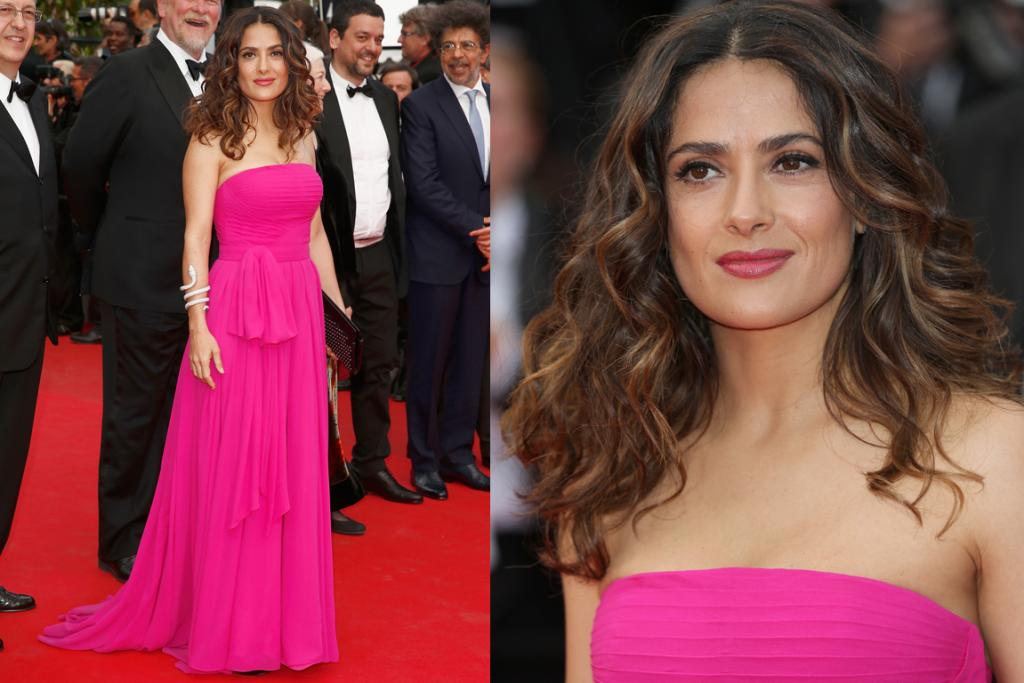 DAY FOUR - THE GREAT: Who would've thought Barbie pink could look this good? Not us, that's for sure - however, Salma Hayek looks resplendent in this strapless Saint Laurent dress. The subtle pleating gives it a pretty touch and although we're not huge fans of the droopy waist tie, everything else about the look is divine.