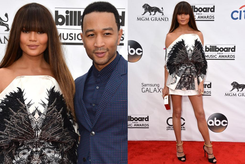 THE INTERESTING: Chrissy Teigen manages to pull off this one-of-Will-Graham's-hallucinations-in-Hannibal dress by Fyodor Golan but I do wish she'd chosen to debut her super blunt fringe another time, as I think a lighter hair do would have been more refreshing. PS: John Legend is rocking in the double polka-dot.