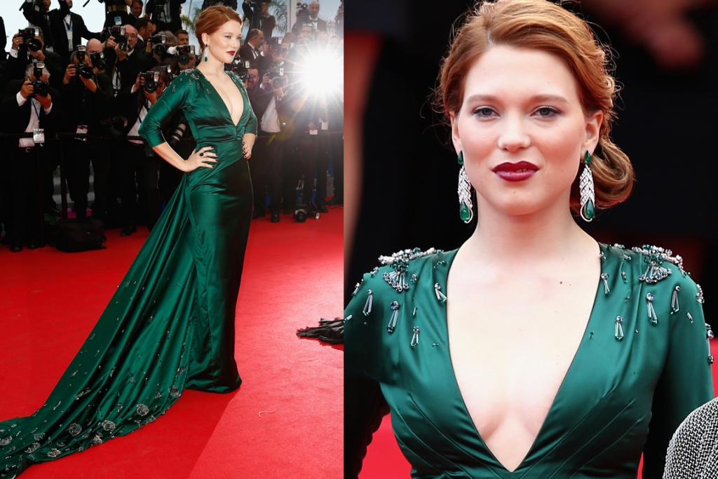 DAY FOUR - THE GOOD: French actress Lea Seydoux cut a dramatic figure in this vampy Prada gown. The striking emerald green hue suits her down to the ground and the cut of the dress is very old Hollywood and thus very event appropriate. How she managed to negotiate the carpet with that extensive train is beyond us - but my oh my did she look good doing it. Love the hair and makeup - tres, tres chic.